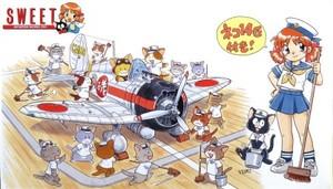 1/144 九六艦戦 空母戦闘機隊の飛行甲板セット (ネコ14匹付き!)
